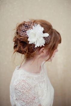 Bridal Fascinator, birdcage veil, bridal headpiece, wedding headpiece, white head piece, Fergie Ships in 1 Month
