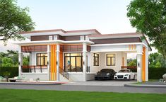 Vibrant and Simple Elevated One Storey House Simple Bungalow House Designs, Small House Exteriors, Simple House Design, Bungalow House Plans, Single Floor House Design, House Roof Design, Flat Roof House, Indian House Exterior Design, Kerala House Design