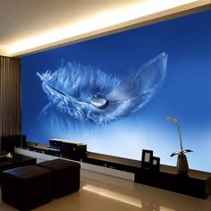 wallpaper home decor Photo background whole living room office blue feather Cafe Hotel large wall covering wallpapers mural