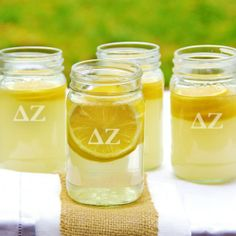 Greek 16oz. Mason Jars (Set of 4) #Greek #GreekGifts #PersonalizedGreekGifts #sorority #Fraternity www.AGreekConcept.com