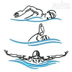 Swim Swimming Embroidery Design
