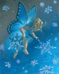 """snowflake fairy child / Baby Erin gathering Snowflakes. """"Here Shawn I got one…"""