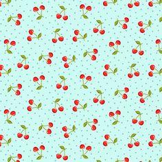 Makower UK - Juicy - Cherries in Blue