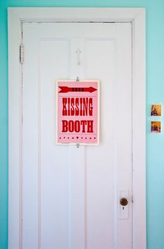 """The Kissing Booth print by Roll & Tumble Press leads the way into my bedroom, and I'm pleased to say it has been a fairly successful self-fulfilling prophecy."" Ha. Apartment of Liz Cook via Design*Sponge"