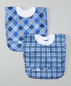 Take a look at this Light Blue Argyle & Plaid Pullover Bib Set by green sprouts on #zulily today!