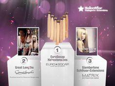 """Hier sind sie, Eure """"Hairdressers most voted"""" die SalonStars 2013 in der Kategorie Extensions:     1. EuroSocap Hairextensions  2. Great Lengths Professionelle Haarverlängerung  3. Giambertone Echthaar-Extensions  - Matrix Distribution GmbH"""