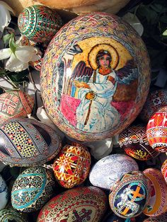 Pysanky Pascha by patagonian_egg, via Flickr. The variety of colours and intricate designs is enormous!