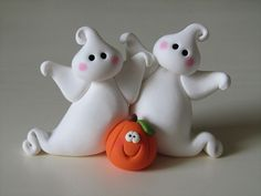 Polymer Clay Halloween Ghosts and Pumpkin by ClayPeeps on Etsy, $14.50