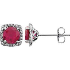 Sterling Silver Created Ruby & .015 CTW Diamond Earrings