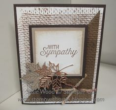 - A great guy or fall card using the 'Colorful Season' stamp set & the coordinating Seasonal Layers Thinlits! Check out the cooper foil leaf! Masculine Birthday Cards, Masculine Cards, Fall Cards, Christmas Cards, Burlap Card, Leaf Cards, Fancy Fold Cards, Thanksgiving Cards, Scrapbooking