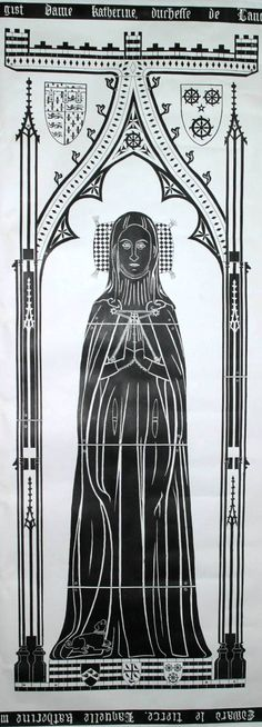 Katherine de Roet Swynford (1350 - 1403) Mistress and ultimately wife of John of Gaunt, great-grandmother of the first Tudor king, Henry VII. Part of the art work for a recreation of Katherine Swynford's brass, based in part on a drawing published by Sir Willim Dugdale. Art work by Roger Joy of the Katherine Swynford Society. Burial: Lincoln Cathedral Lincoln Lincolnshire, England Plot: Near high altar; Daughter Joan Beaufort is buried there as well.