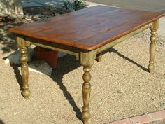 harvest table with turned legs - Google Search
