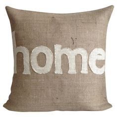 Eco-friendly burlap pillow with a typographic motif and feather-down fill. Made in the USA.  Product: PillowConstruc...