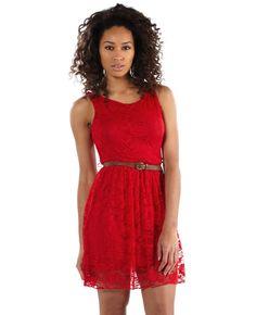 Vestido rojo de blonda