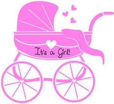 Baby Girl Clipart Image: Baby Carriage or Stroller in Pink Signifying It's a Girl
