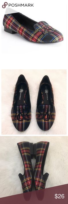 "Rock & Republic Plaid Slip On Embroidered Loafers Rock & Republic Plaid Slip On Embroidered Red Yellow Black Blue Loafer Flats  • Size 9.5 • Fit true to size • 0.5"" heel • Good pre-loved condition, there is one spot on the toe part of the right shoe, It can be seen in the last picture. Light wear to the insole, as pictured, otherwise in very good pre-loved condition with minimal wear Rock & Republic Shoes Flats & Loafers"