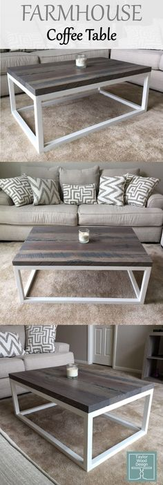 Our farmhouse coffee table we built from solid oak salvaged from the home of our grandparents. One of our favorite builds. Visit our website to inquire about a farmhouse coffee table just like this!