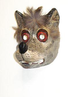 Papier mache wolf mask