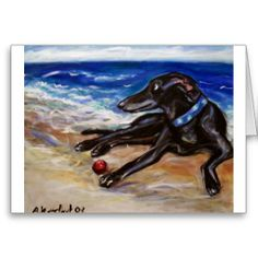 Greyhound by the sea greeting cards