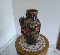 Vaso fiori / Vintage vaso porta fiori / Vaso con rose di VintaFai su Etsy
