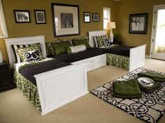 Twin Kids Bedroom Idea... Love these colors. Could be a guest room as well