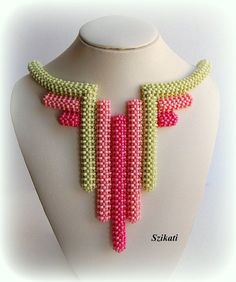 Coral/Green Seed Bead Statement Bib Necklace Art by Szikati Beading Projects, Beading Tutorials, Seed Bead Jewelry, Seed Beads, High Jewelry, Jewellery, Beaded Necklace, Beaded Bracelets, Necklaces