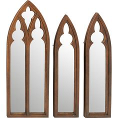 Add a touch of Old World charm to your entryway or library with these weathered wall mirrors, featuring Gothic arch designs.  Produc...