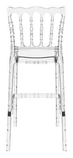 Stacking wedding bar stool h.75 cm for indoor and outdoor use in clear or shiny polycarbonate. Scratch resistant, UV - resistant.