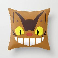 Catbus My Neighbor Totoro Throw Pillow 16x16 Kawaii Chibi Art Cover Anime Decorative Creature Manga Hayao Miyazaki Studio Ghibli Cat Bus Tan