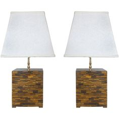 Pair of Mid-century Modern Tessellated Tigers-eye Table Lamps | From a unique collection of antique and modern table lamps at https://www.1stdibs.com/furniture/lighting/table-lamps/