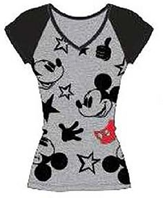 Disney Classic Icon Mickey Mouse Womens Pajama T Shirt Top Black Grey *** Want to know more, click on the image.