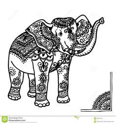 Elephant And Mehendi Ornament Stock Illustration - Image: 48374271