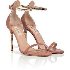 VALENTINO Soft Hazel/Gold Leather Sandals ($915) found on Polyvore