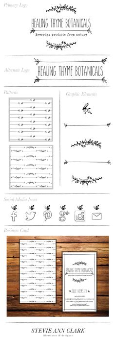 Branding - Hand Drawn Logo - Business Cards - Organic - Thyme - Herbs - Botanic - Healing - Healing Thyme Botanicals - Social Media Icons - Branding Kit