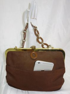 ROGER VAN S. Brown Suede Handbag w/Leather Chain by Vintageables