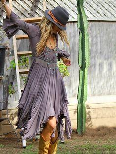 Gray Ruffled Deep V-neck Flared Sleeves Cropped Midi Dress – oshoplive