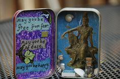 "Wonderful... former Altoids tin =  little shrine (OP says: ""Kwan Yin Yogini"")"