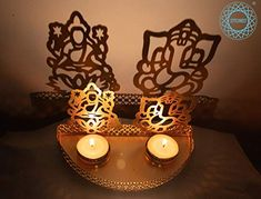 STITCHNEST Metal Divine Shadow Ganesh and Lakshmi Diya || Tealight Candle Holder STITCHNEST