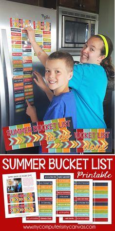 FREE printable summer bucket list - great boredum buster for kids! Summer Activity List #mycomputerismycanvas