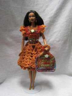 Handmade crocheted dress with attached apron & bag for Barbie