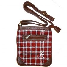 Ticket Bag - University of Alabama $34.99 Tartan and leather adjustable strap purse. Wear it cross body and on gameday or any day. Fits a phone and wallet and other small items. This Product Makes a Great Holiday Gift for any Rolltide fan!