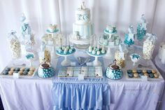 Blue Christening Birthday Party via Kara's Party Ideas | Kara'sPartyIdeas.com #blue #christening #birthday #party #supplies #ideas (3)