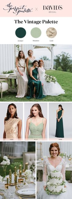 Wedding palette idea: vintage-inspired gold, deep juniper green, and light meadow green. At David's Bridal, it's easy to coordinate your whole wedding day, from bridesmaid dresses to decorations. Photos: @laurenraephoto Design: @theperfectpalette Florals: @stemsatlanta @bloomsbythebox Venue: @Tatumacres Apparel: @davidsbridal Décor: @missmillys @theprissyplatecompany @presentimerentals @100candles Cake: @cake_envy_ga