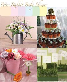 Peter Rabbit Baby Shower Ideas  Love love the mini potted plants as favors for guests to grow