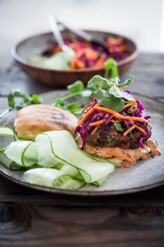 Grilled Thai Turkey Burgers- with lemongrass, ginger & basil, topped w ...