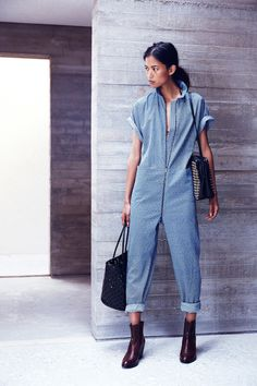Rachel Comey Resort 2015 Fashion Show Denim Fashion, Look Fashion, Fashion Show, Womens Fashion, Rachel Comey, Outfit Vestidos, Denim Overall, Estilo Jeans, Boiler Suit