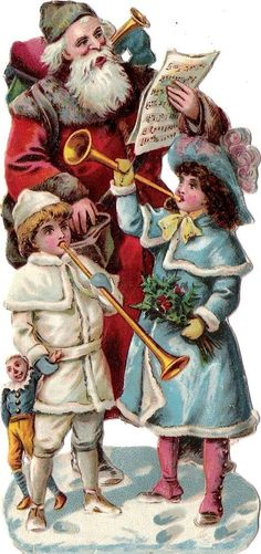Oblaten Glanzbild scrap die cut chromo Nikolaus 15cm father XMAS santa doll