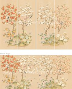 Cherry Blossom Art, Chinoiserie, Asian Art, Vintage World Maps, Art Deco, Traditional, Painting, Korean, Fish