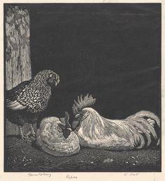 "Lionel Lindsay (Australian, 1874-1961) - ""Repose"", 1932 - Wood engraving The Barnyard, Wood Engraving, Roosters, Thesis, Printmaking, Illustration Art, Artsy, Sketch, Birds"