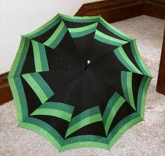 Glamorous green vintage umbrella.